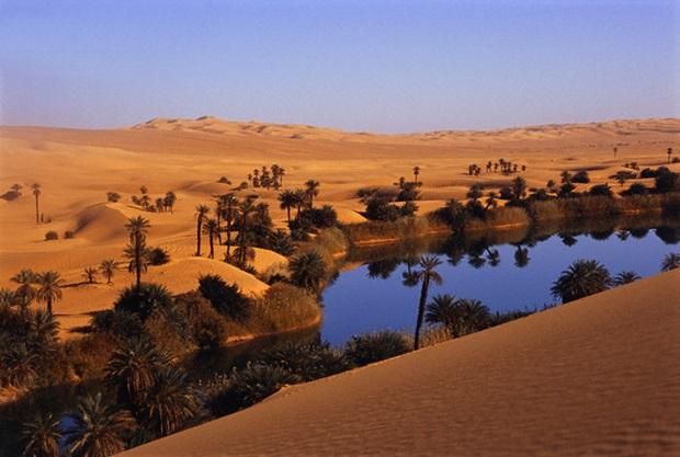 Oasis at Um Al Ma salt lake, Sahara desert, Ubari, Libya --- Image by © Frans Lemmens/zefa/Corbis